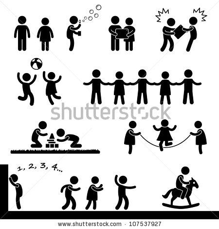 Happy Children Playing Icon Symbol Sign Pictogram By Leremy Via Shutterstock Pictogram Stick Figure Drawing Stick Figures