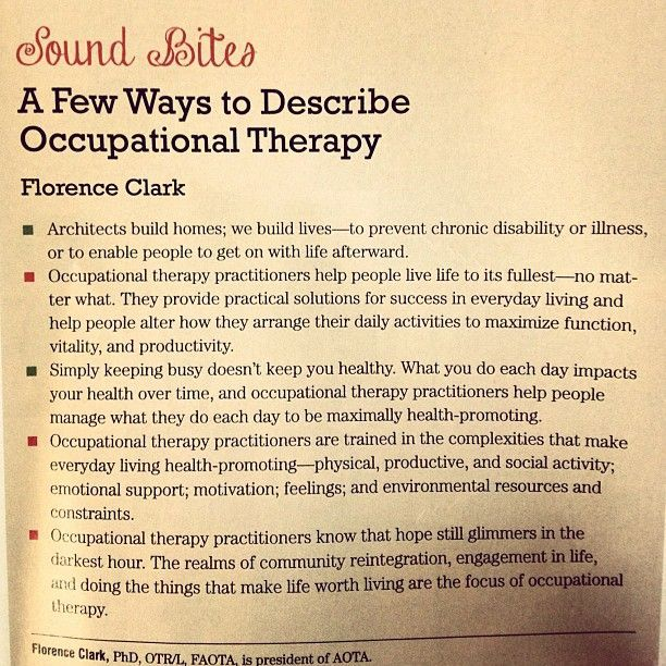 A few ways to describe occupational therapy, by Florence Clark - occupational therapist job description