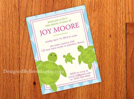 Sea Turtle Baby Shower Invites 2750 Plus 100 More Per Card