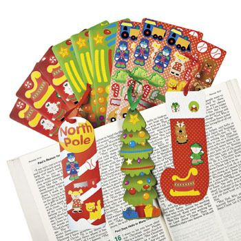 Christmas Make a Sticker Bookmark (1) :   Includes 1 bookmark and 1 sticker sheet. Stickers are repositionable and acid free. (19 - 76 stickers per sheet)  assorted designs