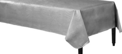 Silver Flannel Backed Vinyl Table Cover Party City I Like To Get The Flannel Backed Table Covers For My Vinyl Table Covers Tablecloth Fabric Table Covers