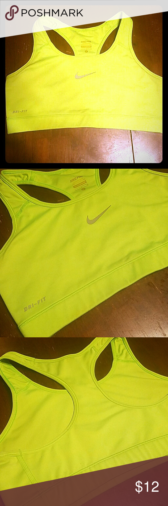 Nike Sports Bra Lime green Nike Sports bra. Great condition! Size Large Nike Intimates & Sleepwear Bras