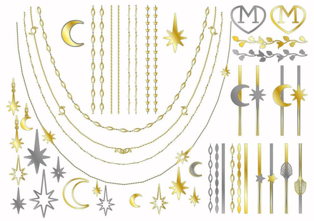 Let the stars be your guide to finding the awesome designs you can create with Art Nouveau metallic tattoos.