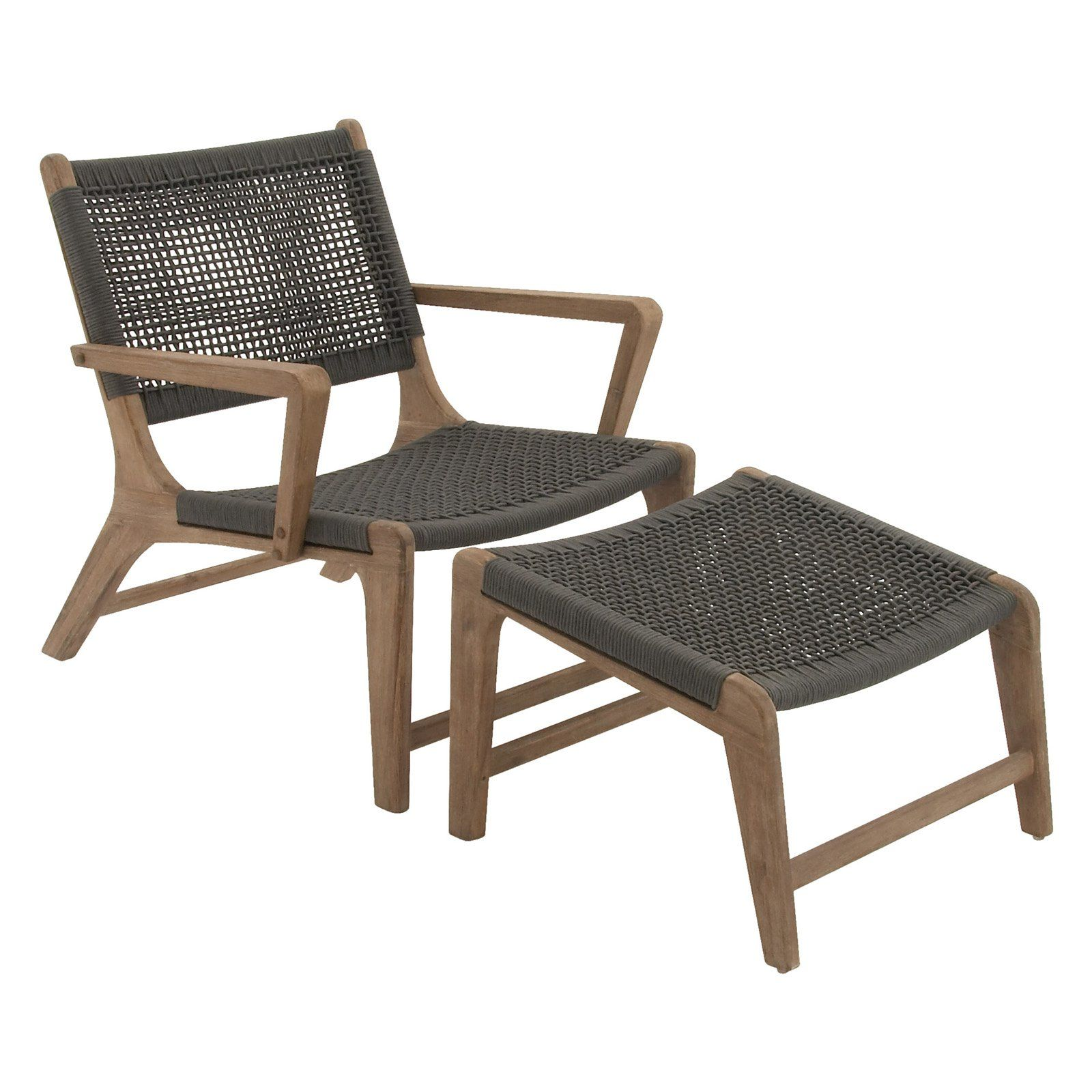 Swell Uma Great Outdoors Wood Rope Patio Chair With Ottoman From Machost Co Dining Chair Design Ideas Machostcouk