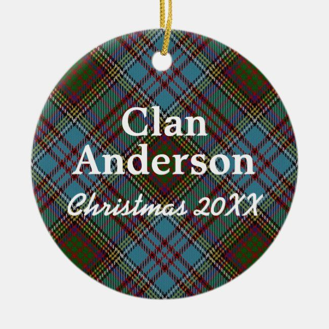 Clan Anderson Scottish Tartan Ceramic Ornament #clan #tartan #plaid #customize #blueandgreen #CeramicOrnament #plaid #tartan #pattern #gifting #giftgiving #giftideas #Christmasplaid