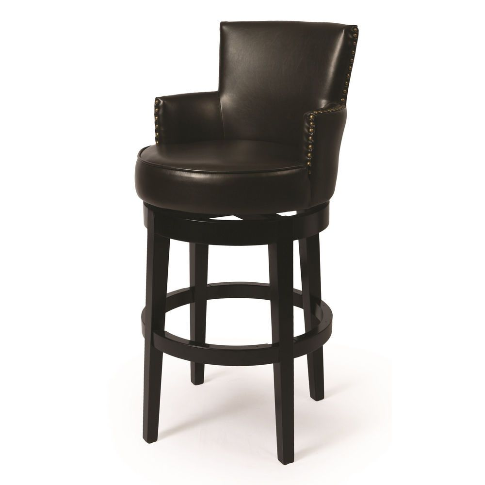 Zadar Brown Faux Leather And Black Wood Swivel Stool With Arms Unbranded Bar Stools Padded Bar Stools Swivel Bar Stools