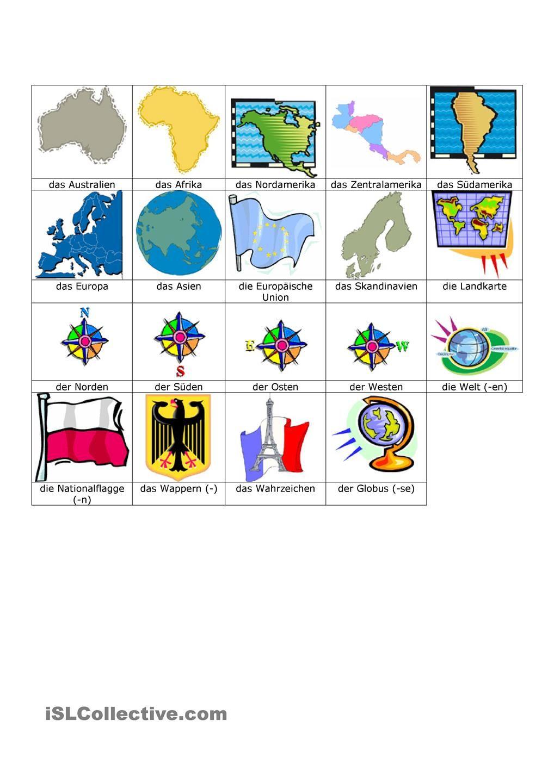 Länder, Sprachen, Nationalitäten Bilderwörterbuch | Teaching ...