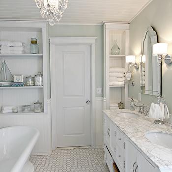 White And Green Bathroom Traditional Bathroom Sherwin Williams Sea Salt Golden Boys And Me Traditional Bathroom Green Bathroom Painting Bathroom