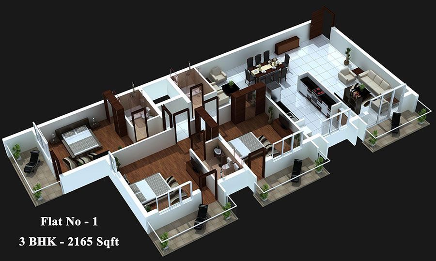 3 Bedroom Design Chocolate 2  3D House Plans & Floor Plans  Pinterest  3D House