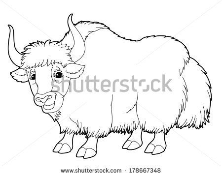 Himalayan Yak Color Sheets Cartoon Animal Yak Coloring Page Illustration For The Children Yak Image Cute Coloring Pages Coloring Pages
