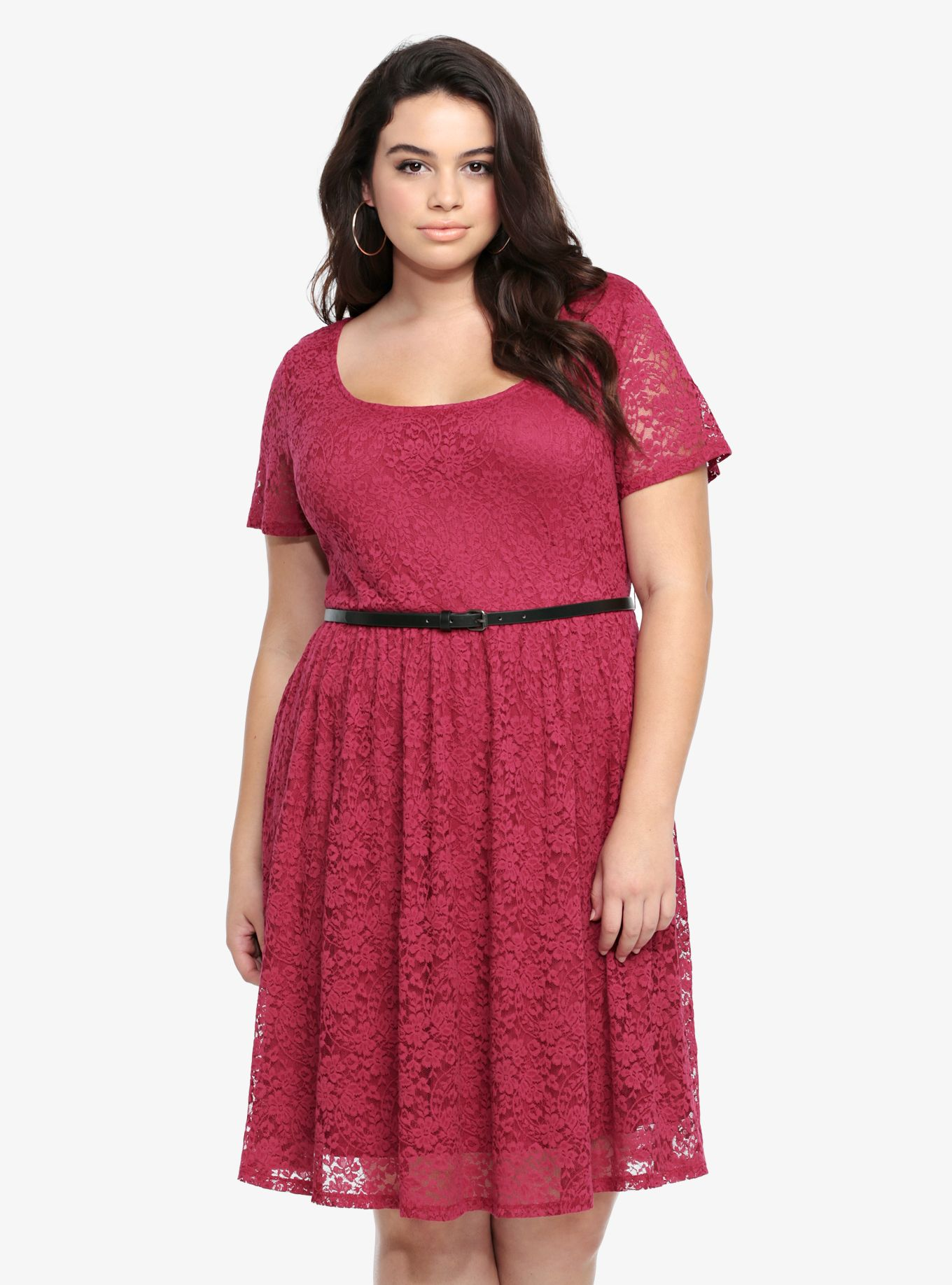 9bdc3d7a3be Belted Lace Skater Dress