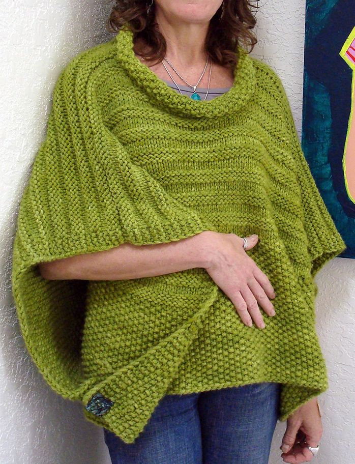 Free Knitting Pattern For Easy Cropped Overlay Worked In 2 Pieces