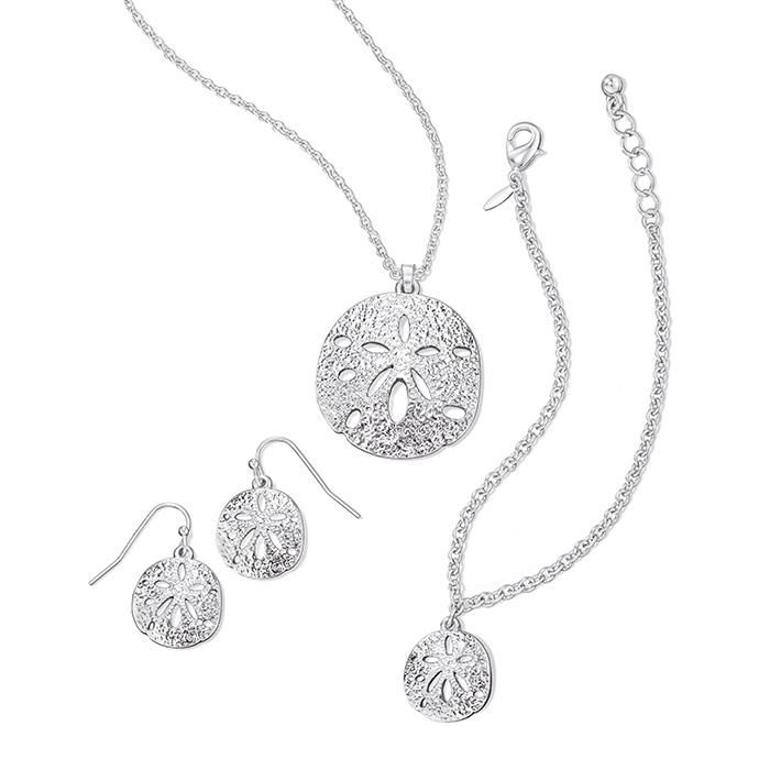 Be Beach-Chic in this summer-inspired give set and set the mood for fun in the sun! Silvertone necklace with open work sand dollar pendant. Includes matching sand dollar bracelet and sand dollar earrings. Regularly $16.99, buy Avon Jewelry online at http://eseagren.avonrepresentative.com
