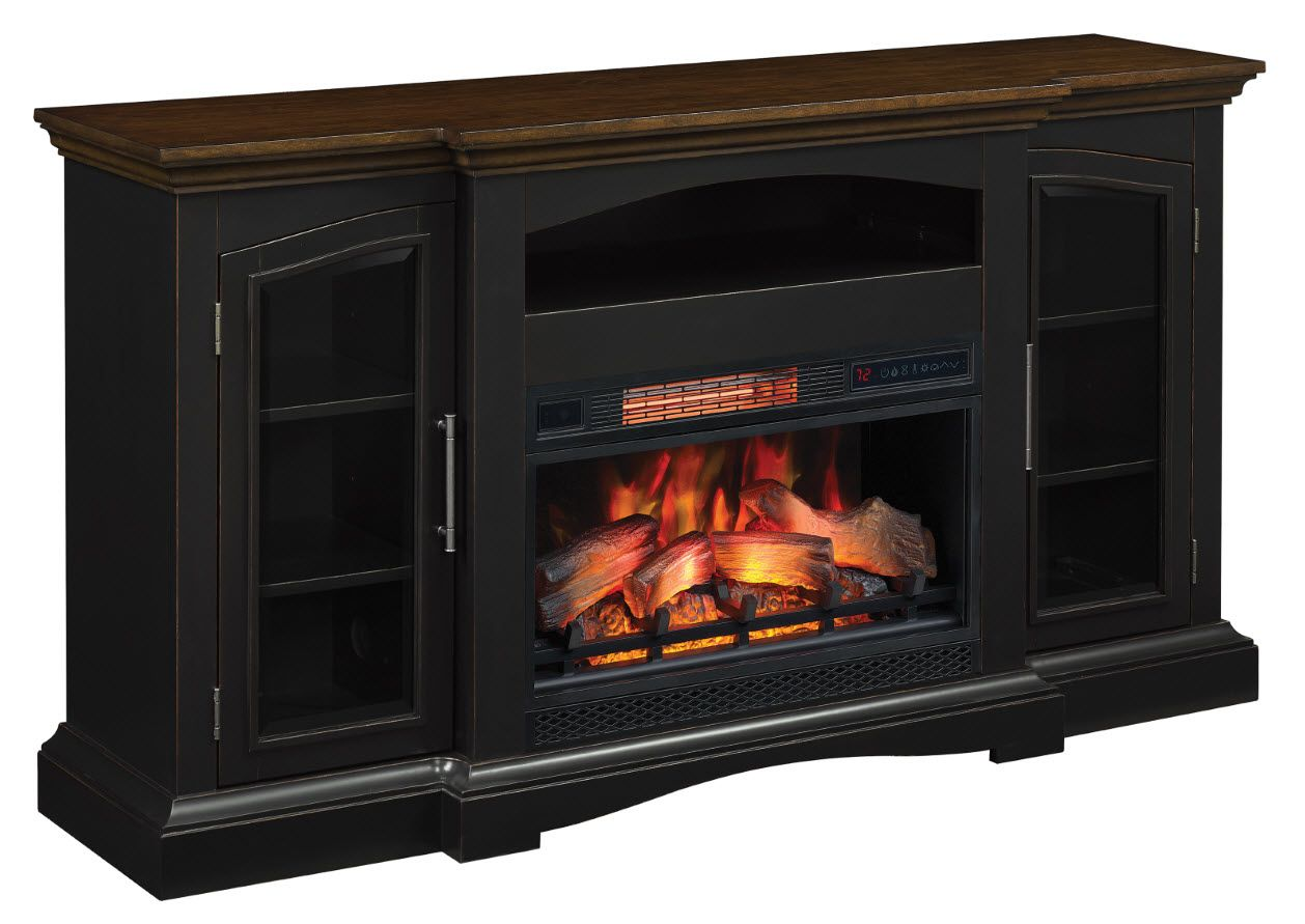 63 Girard Aged Black Infrared Tv Stand Electric Fireplace In 2020 Fireplace Inserts Electric Fireplace Fireplace Tv Stand