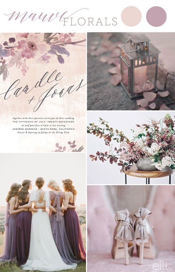 mauve wedding inspiration and invitation