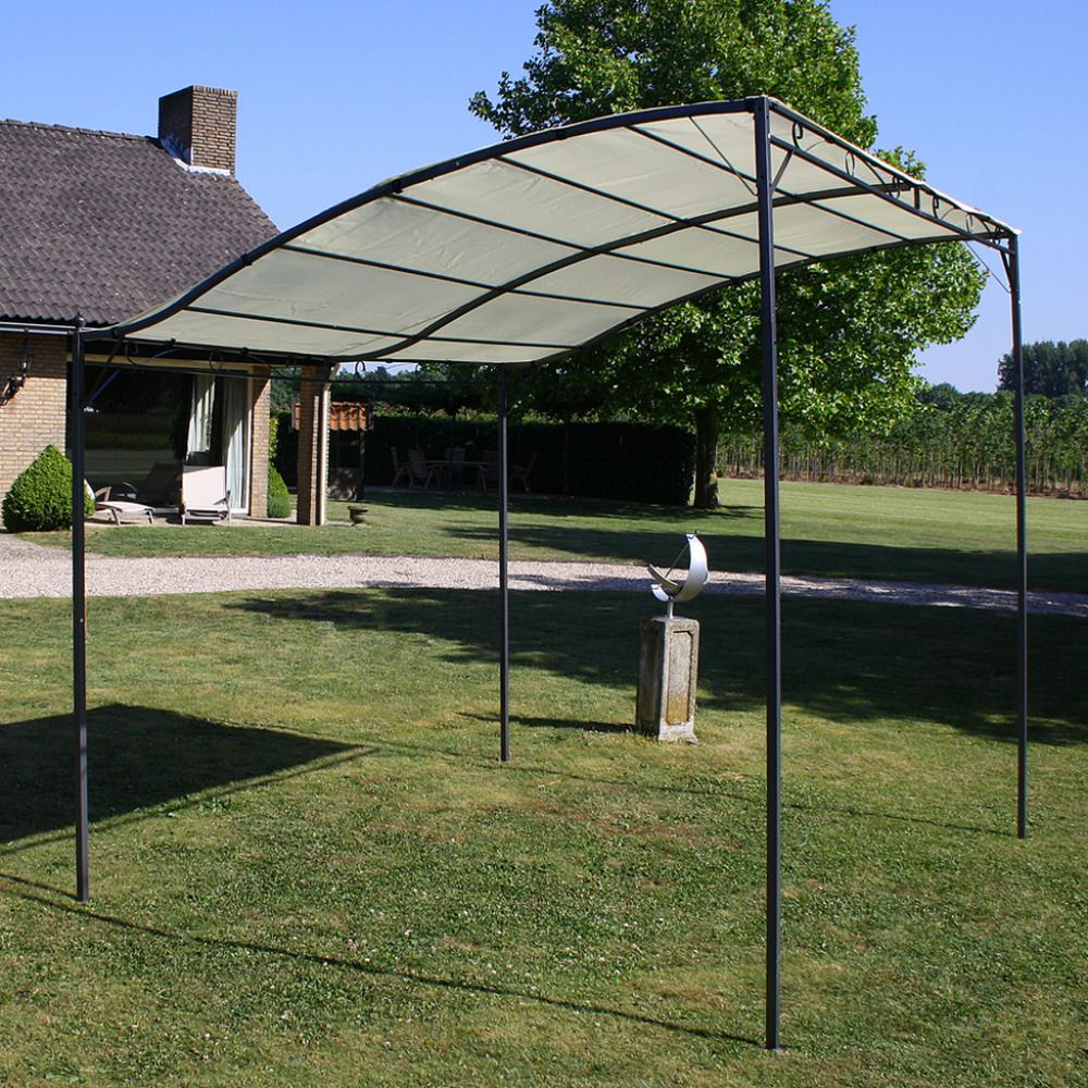 Awning Canopy Frame Metal 10 X 8 Steel Porch Shade Set Patio Uv Protection Cream Gazebo Patio Gazebo Gazebo Canopy