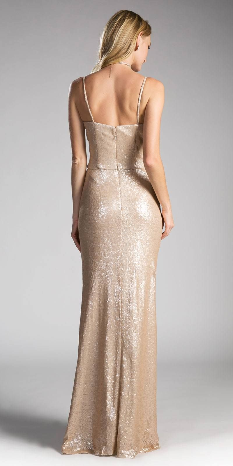 Champagne sequins long prom dress sweetheart neckline long prom