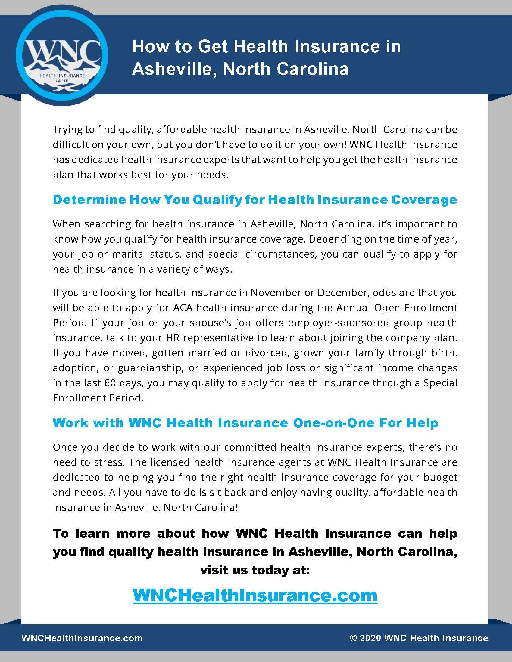 How to Get Health Insurance in Asheville, North Carolina