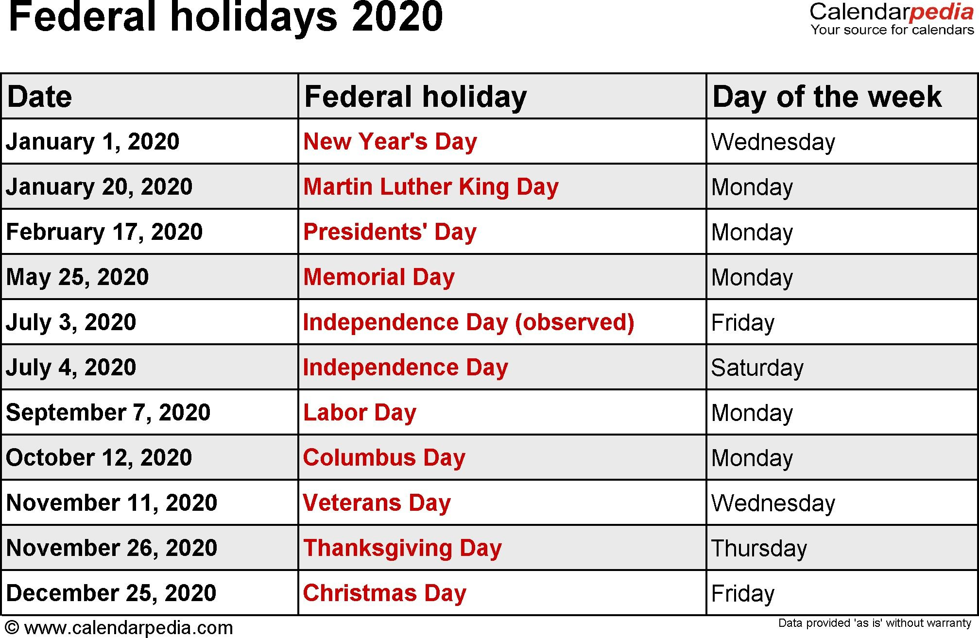 2020 Calendar Templates And Federal Holidays 2020 Calendar 2020 Free Printable Calendar 2020 Fe Holiday Calendar Printable Holiday Calendar Us Holiday Calendar