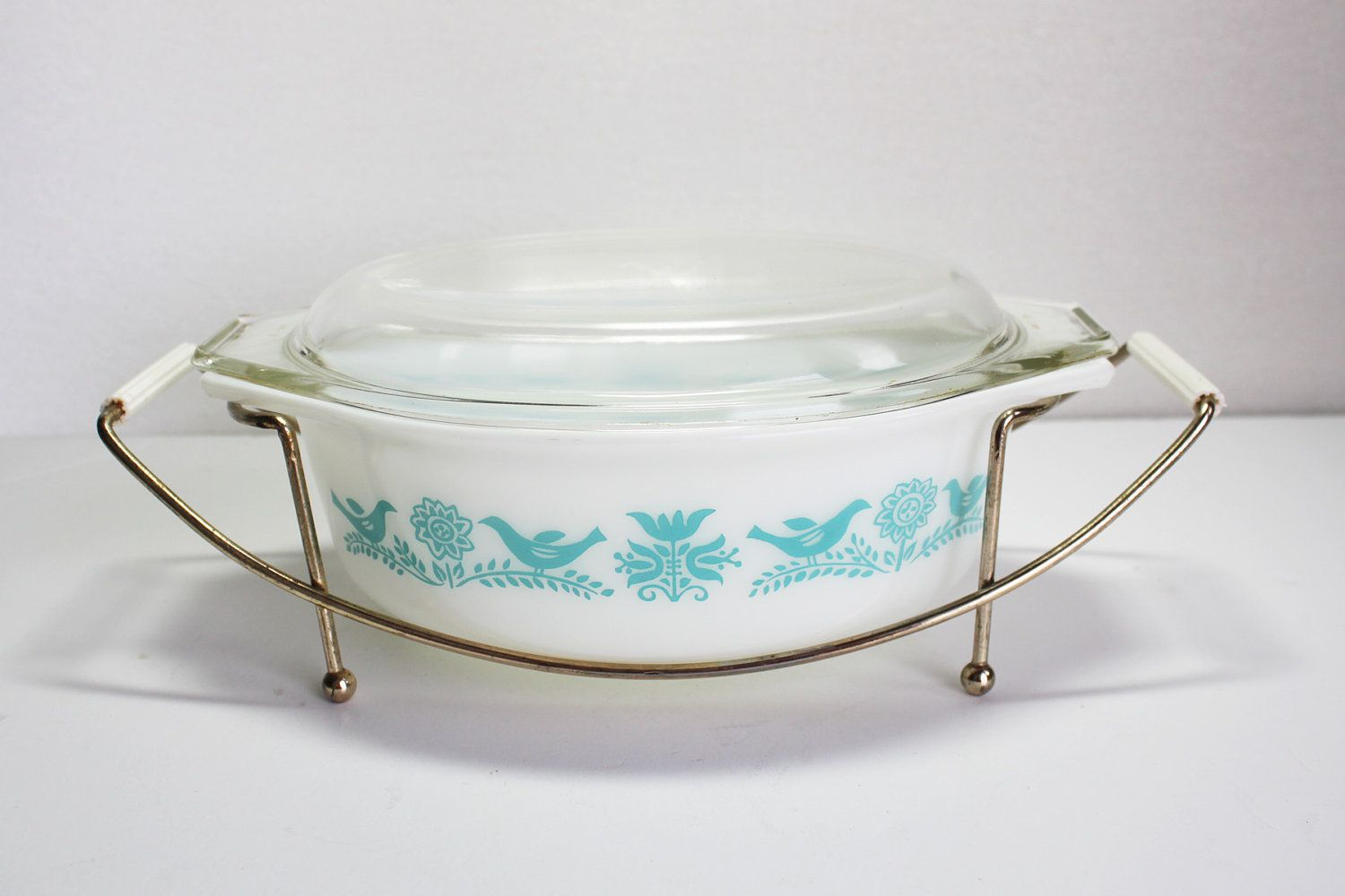 Pyrex Bluebird Casserole Dish with Lid and Cradle, Promotional Pyrex ...