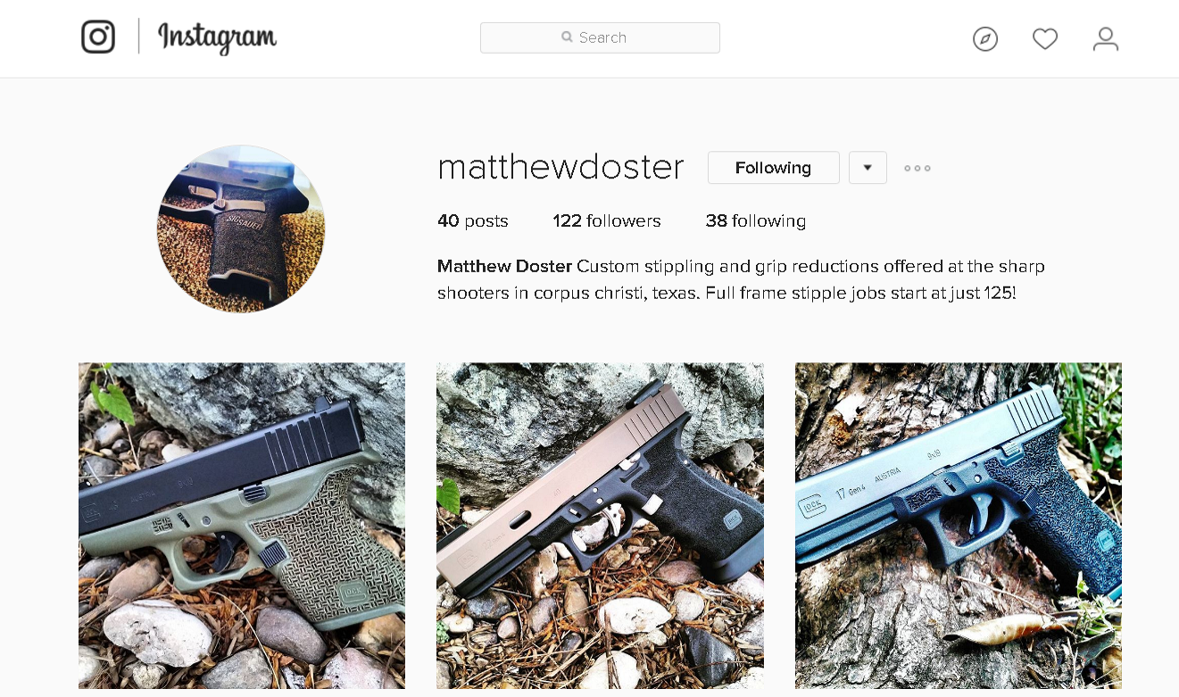 Custom stippling and grip reductions offered at the sharp shooters ...
