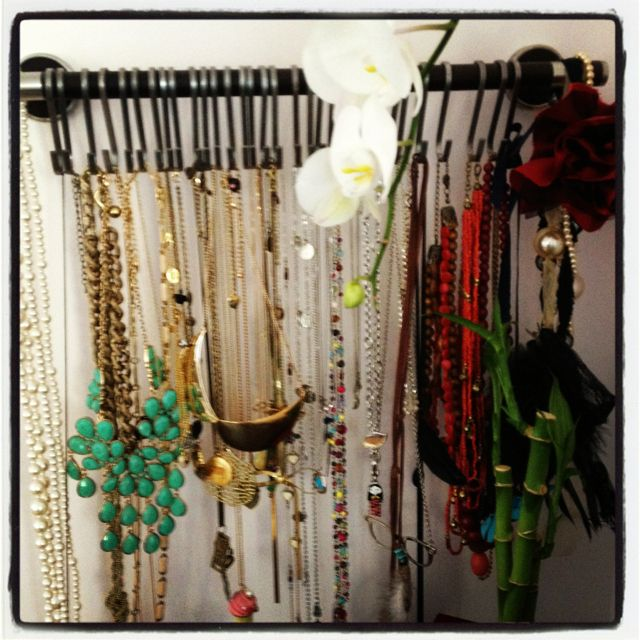 Necklace holder made with towel bar and Ikea hooks