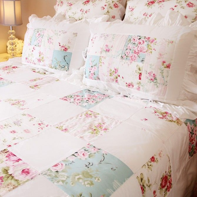 Rose Floral Patchwork Shabby Chic Quilt Duvet Cover