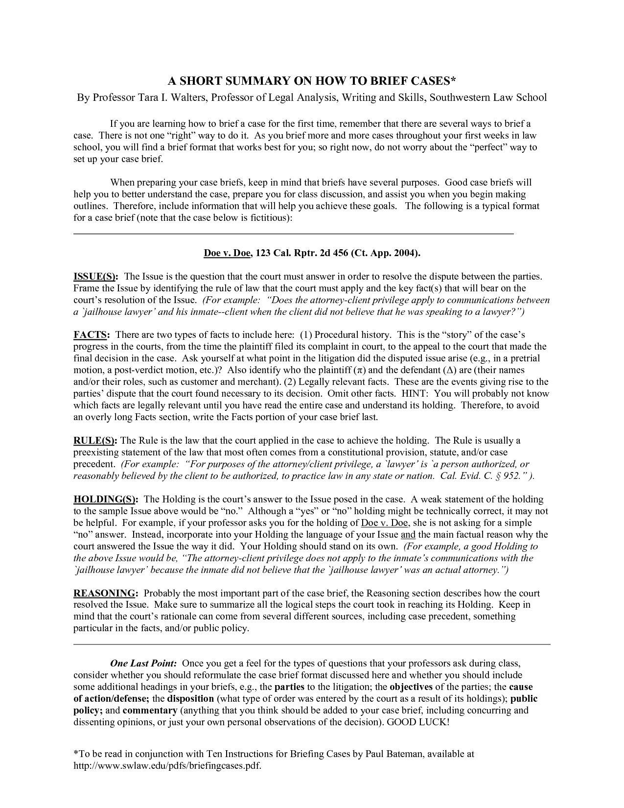 legal brief templates 40 case brief examples templates template
