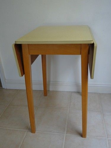 Vintage table CENTA retro formica small fold down yellow fifties or