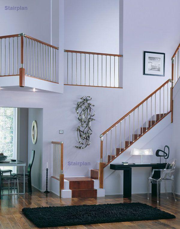 Fusion Staircase Hardwood And Brushed Nickel Staircase New | Brushed Nickel Stair Railing | Horizontal | Farmhouse | Matte Finish | Light Dark Wood | Hallway