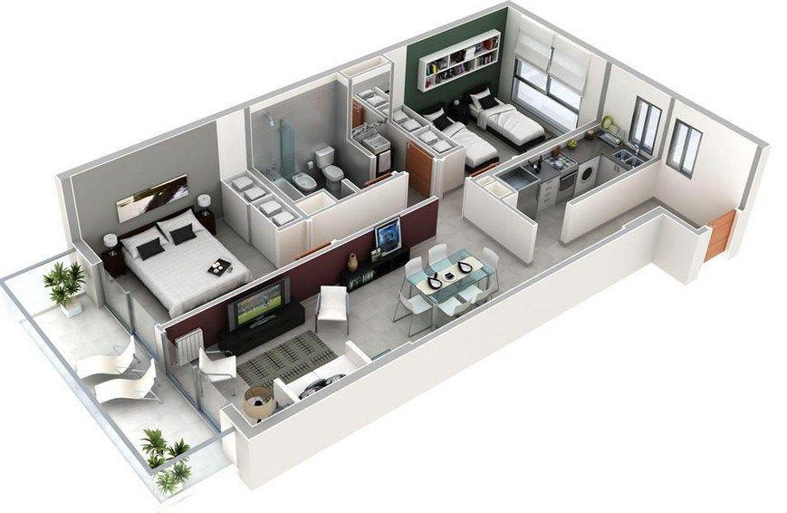 Plano de departamento rectangular de 2 dormitorios y 1 for Diseno de apartamento de 4x8 mts