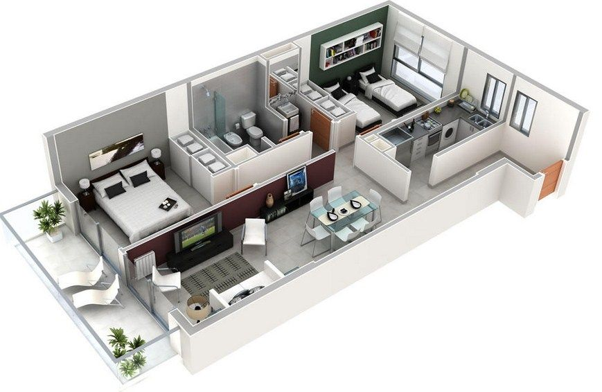 Plano de departamento rectangular de 2 dormitorios y 1 for Planos de casas pequenas en 3d