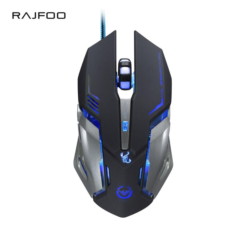 Ajustable Wired Steel 6 Keys Optical Gaming Mouse LED Light Custom Macros Mice
