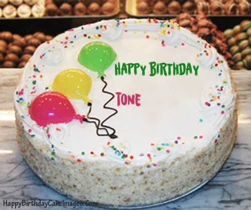 Write Your Friends Name On Vanilla Birthday Cake With Balloons And Send To Them Via Facebook Twitter You Can Create Other Cakes By Searching