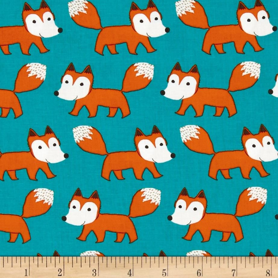 Forest Lake Fabric Home: Cotton Print - Boy Forest Playground Foxes Lake