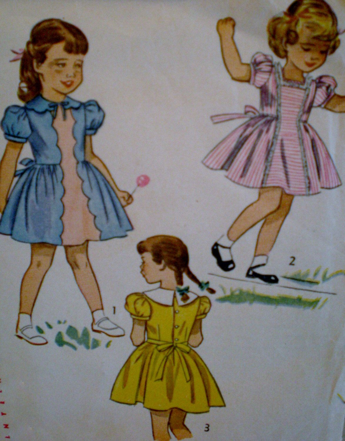 Vintage s simplicity pattern girls one piece dress with