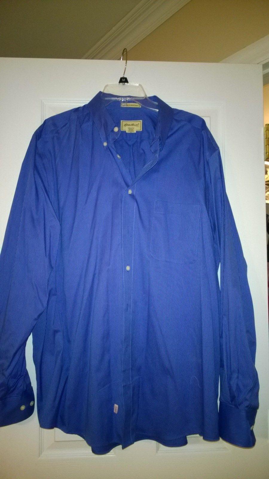MENS EDDIE BAUER COLLARED BUTTON  DRESS SHIRT L/S BLUE PINSTRIPE TALL XLL PREOWN