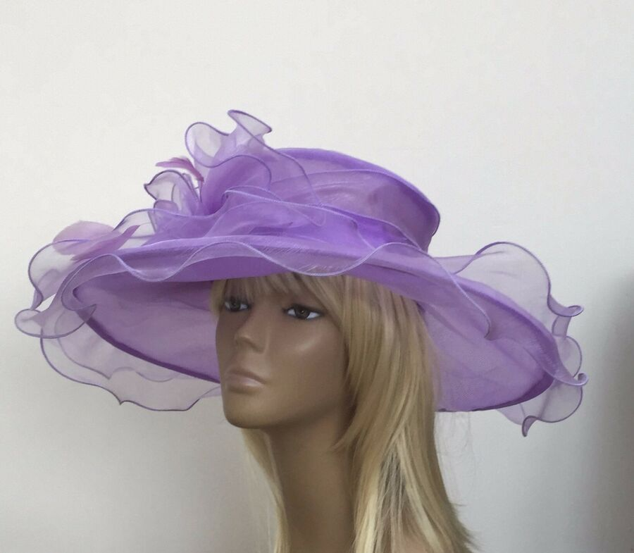 dde963f7d4a New Large Womens Lilac Organza Wedding Hat Mother Of The Bride Groom Races  Ascot