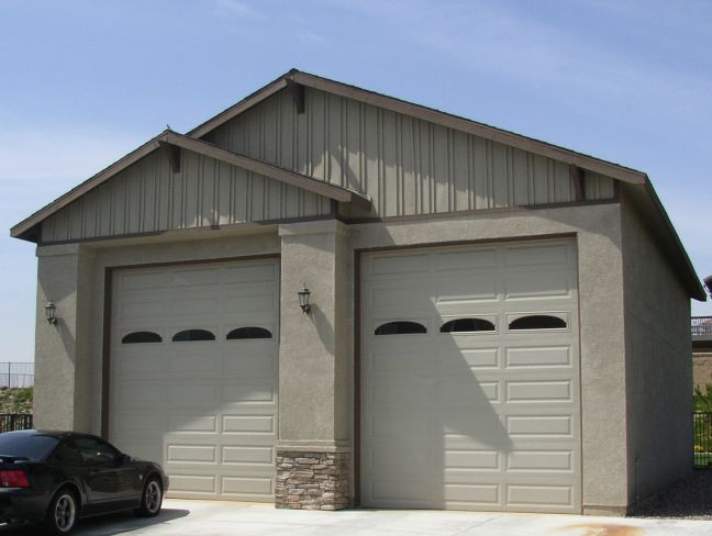 Rv garage door detached garage with rv storage for Rv shed ideas