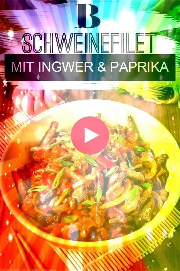 Ingwer und Paprika Das Schweinefilet marinieren wir in einer TeriyakiSauce mit Ingwer und Senf und braten das Fleisch mit Paprika Lauchzwiebeln und Zucchini im Wok an Ein...