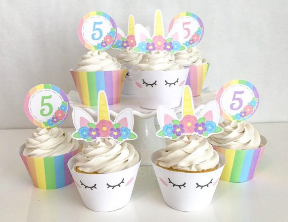 photo regarding Unicorn Cupcake Toppers Printable titled Printable Lady Unicorn Horn Cupcake Toppers and Wrappers