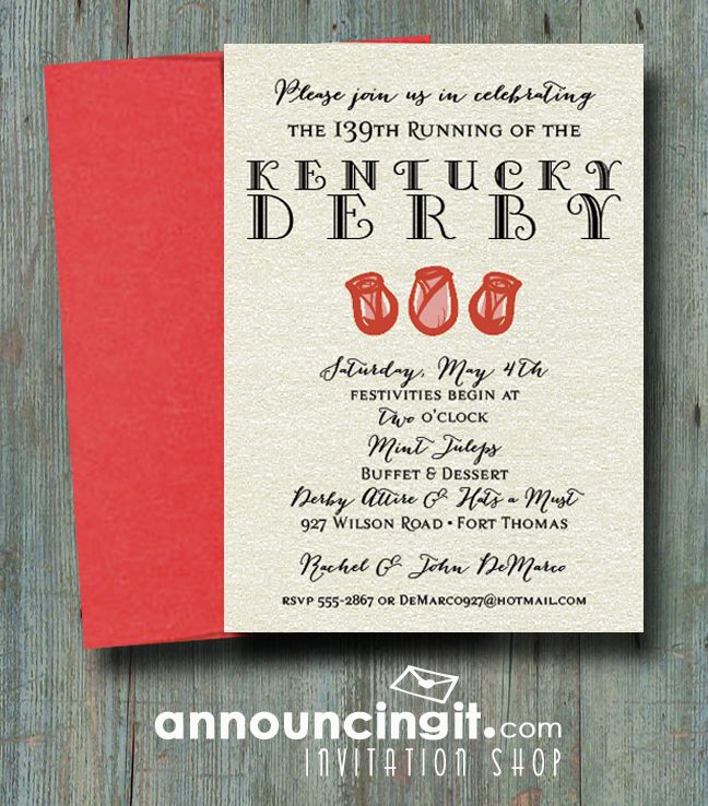 Shimmery Rose Trio Kentucky Derby Party Invitations Come see the
