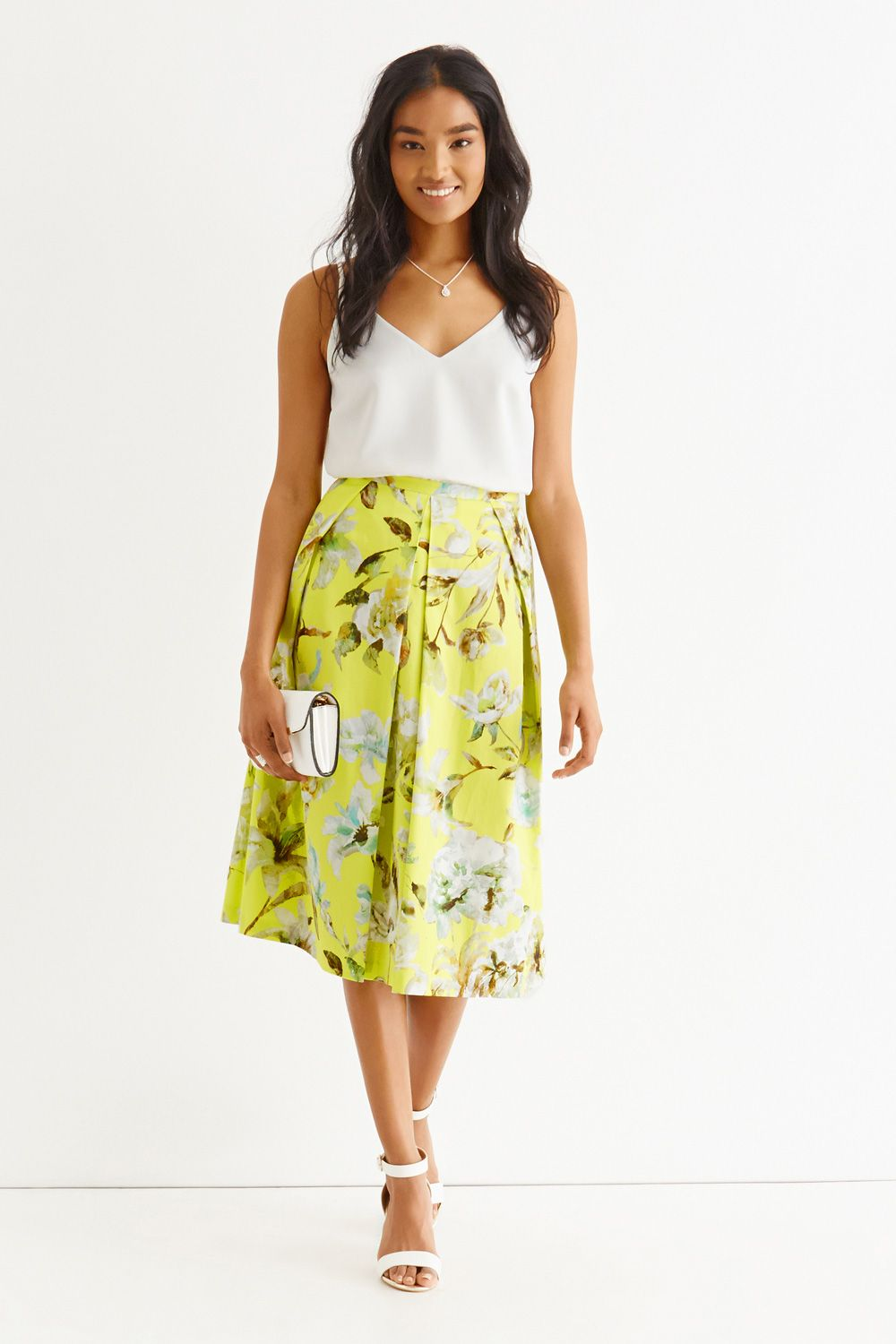 Oasis Yellow Floral Midi Skirt | Summer fashion | Pinterest ...