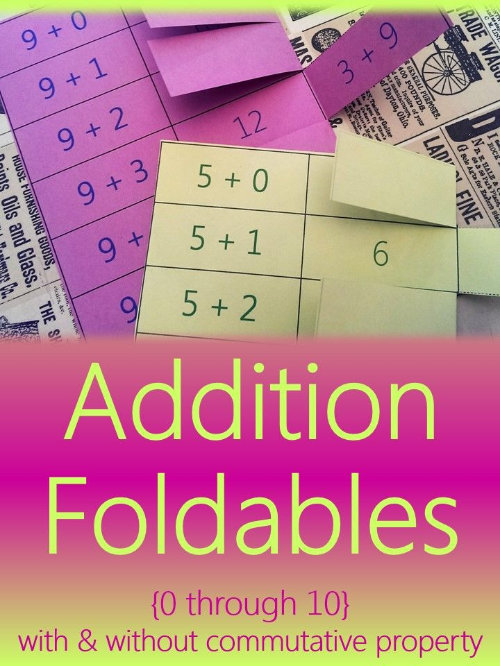 Addition Foldables Math Flashcards Showing Commutative