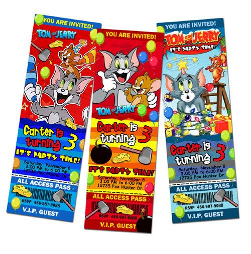 tom and jerry birthday invitation party ticket by mariagala44, $11.99