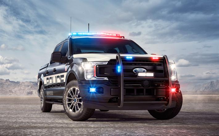 Lataa kuva Ford F-150 Poliisille, 2018, pickup, erityistä transoport, poliisin autoja, USA, Ford