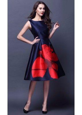 cdaf6489d Fancy Readymade Royal Blue Satin Western Wear Dress - 101023 ...