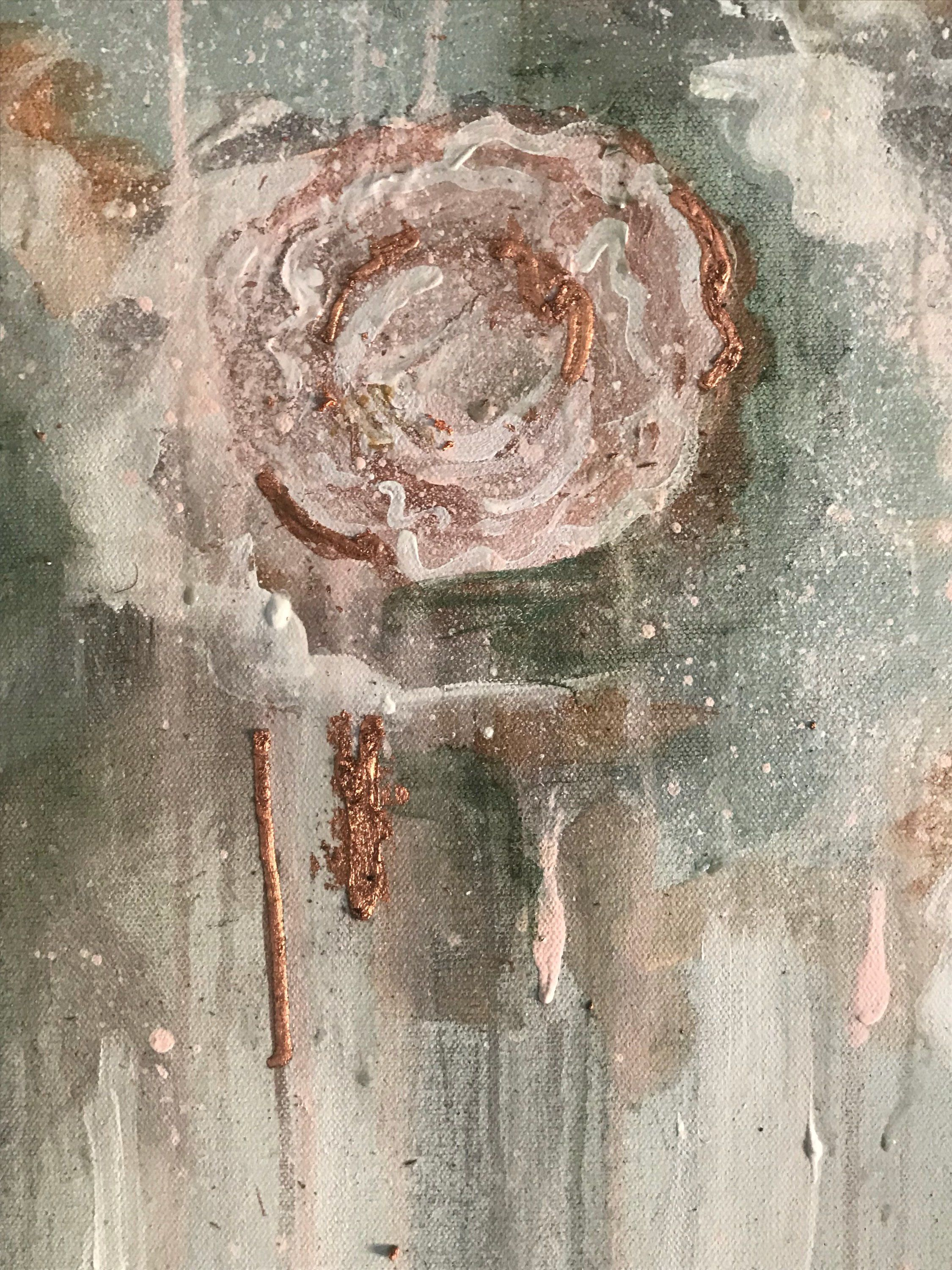 Large Floral Abstract Painting Rose Gold Leaf Abstract Art