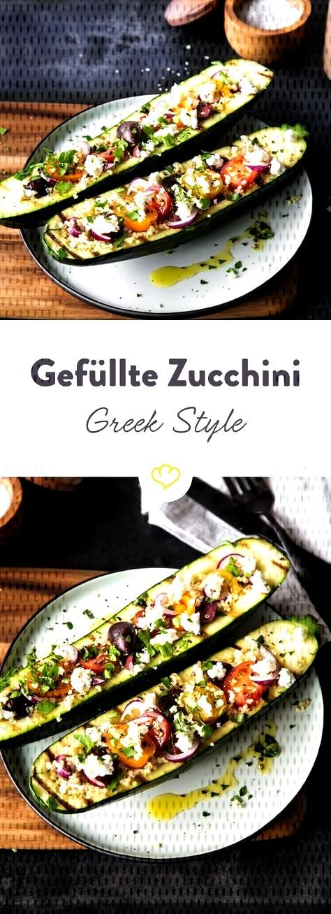 Stuffed zucchini with quinoa - Greek style - These zucchini Greek Style are first grilled and then