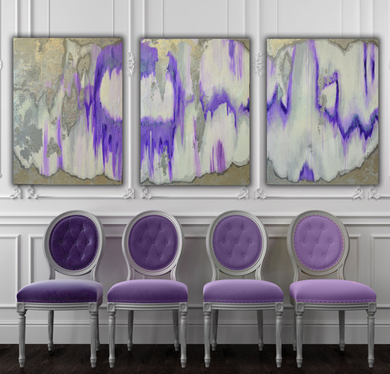 Set of 3 Large Canvas Painting Gray, Silver, Purple Ikat Ombre